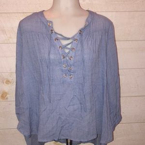 Forever 21 Chambray Lace Up V-Neck Blouse